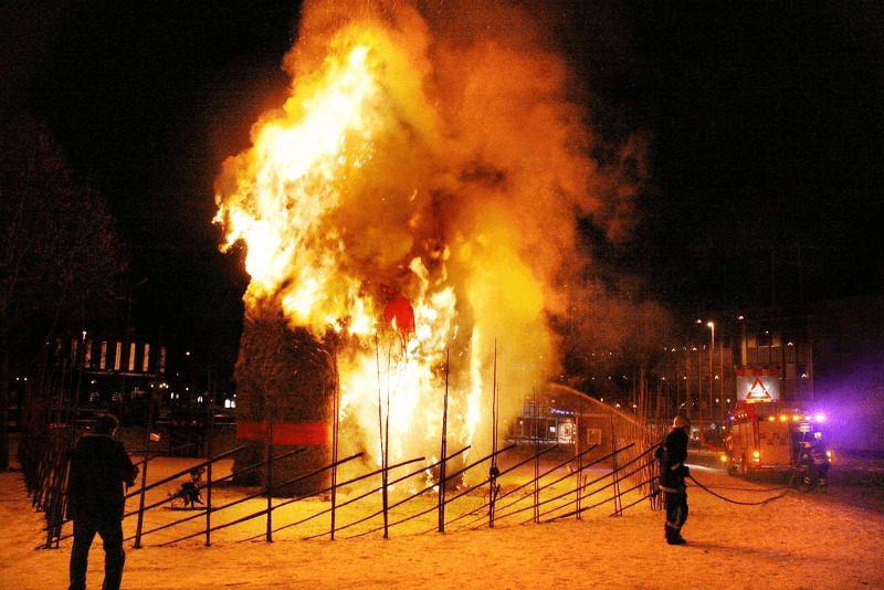 Sweden Christmas Gavle Goat Burnt - Curious Christmas Traditions Around World