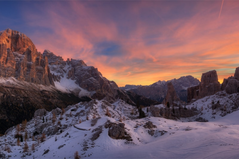 The Dolomites with sunset - Hiking Trails