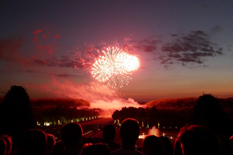 Versailles night show with fireworks
