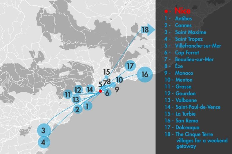 Carte - Excursions d'une Journée depuis Nice
