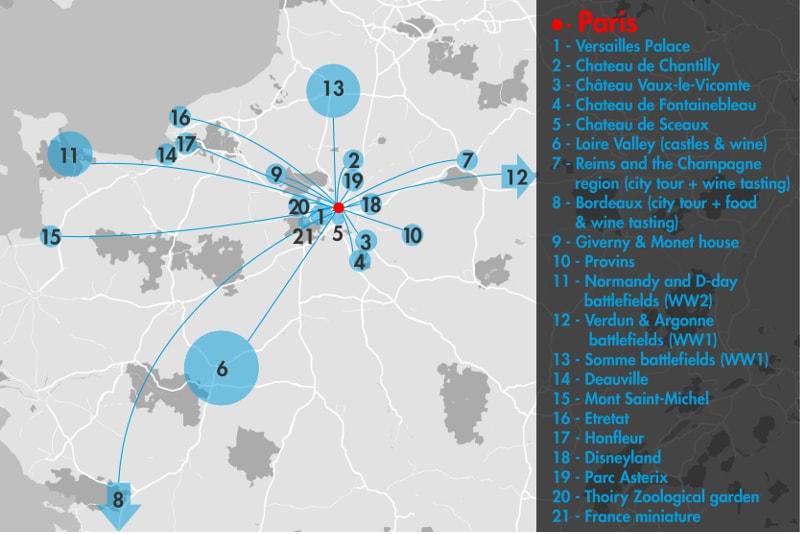 excursiones de un día desde el mapa de París