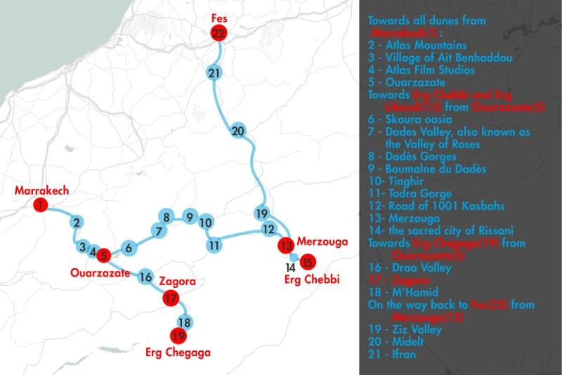 Mapa de excursiones por el desierto de Marrakech