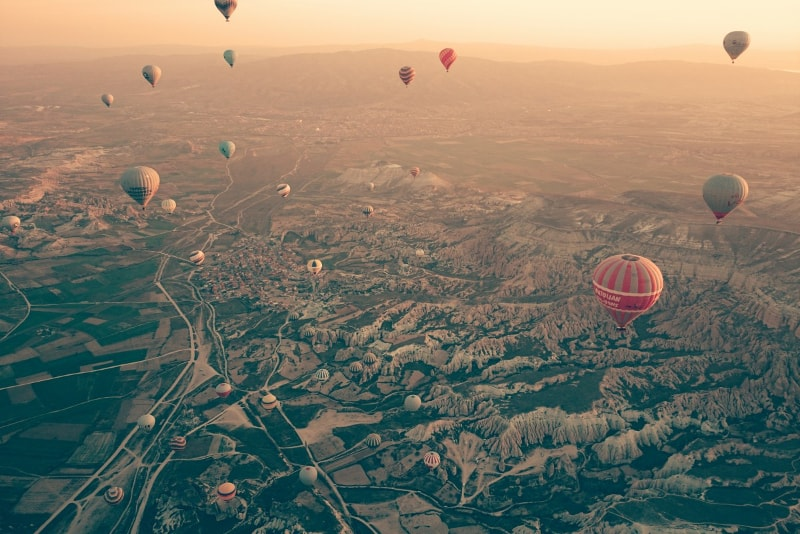 Cappadocia hot air balloon sunset