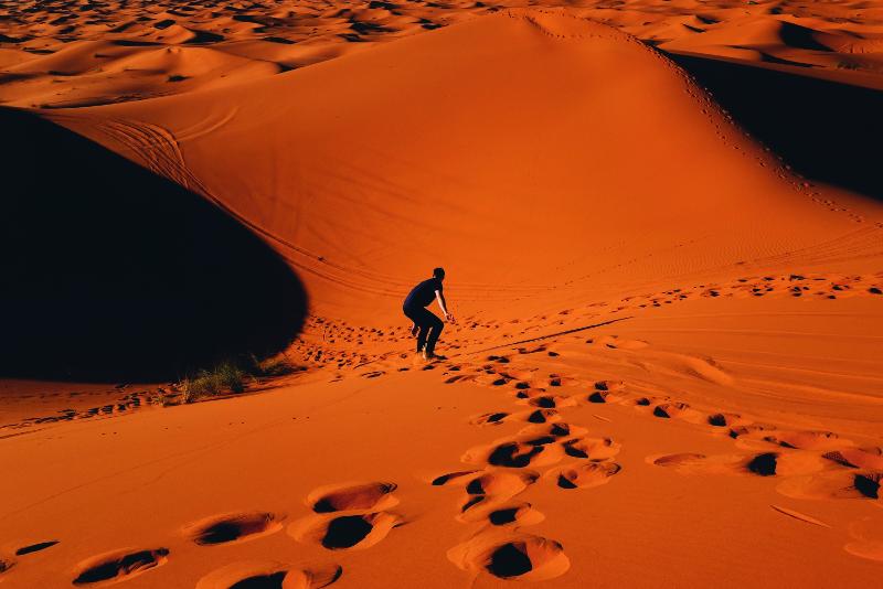 sandboarding in Doha desert