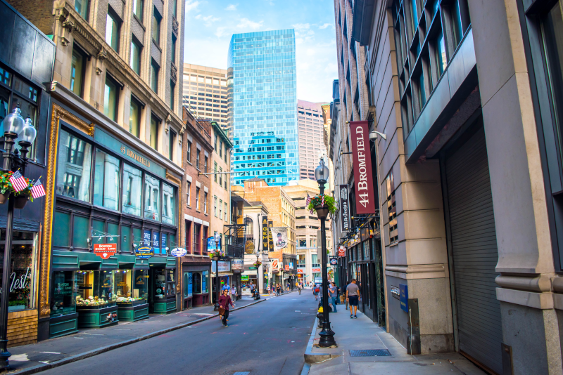Boston street  - day trips from New York City