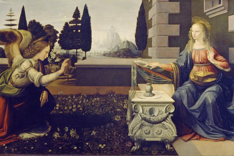 """""""Annuciation"""" de Leonardo da Vinci - Uffizi Gallery tours"""