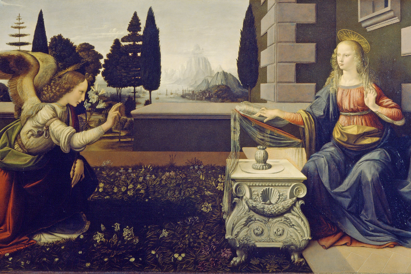 """Annuciation"" by Leonardo da Vinci - Uffizi Gallery tours"
