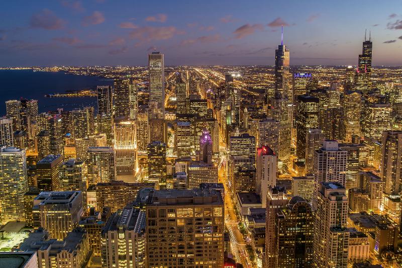 Silhueta de Chicago na noite