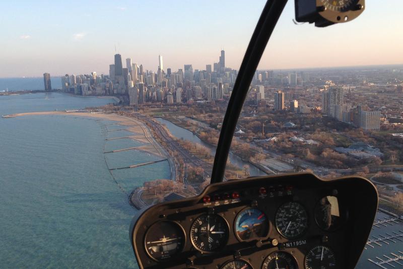 Vista de Chicago de um helicóptero