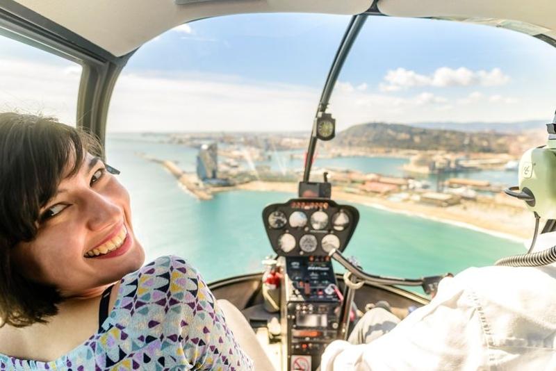 Vista dall'interno dell'elicottero