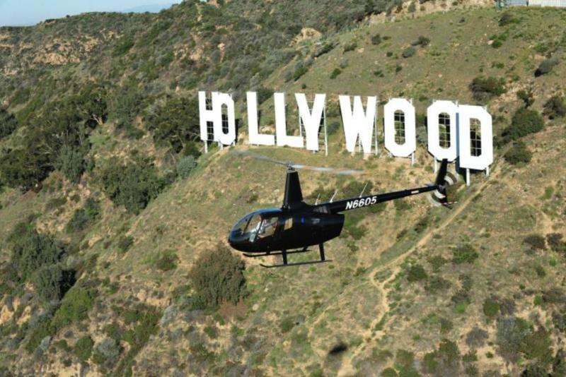 Elicottero e segnale Hollywood