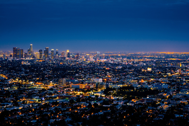 Panorama notturno di Los Angeles