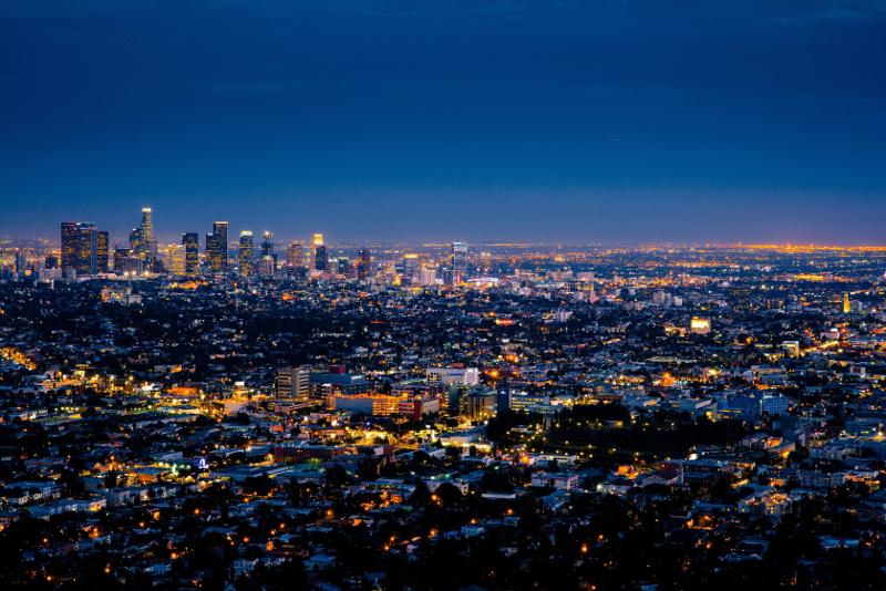 Panorama notturno di Los Angeles