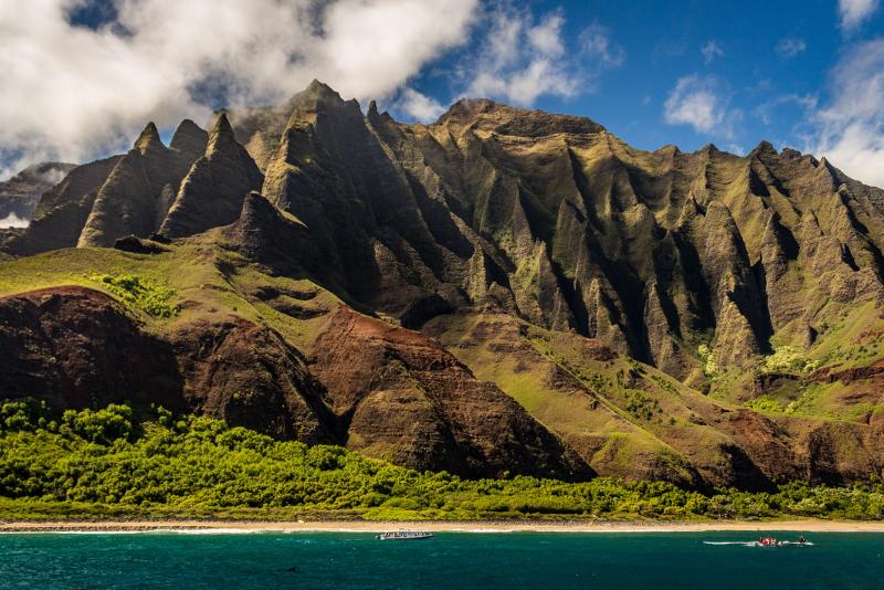 Panorama dal mare della Big Island