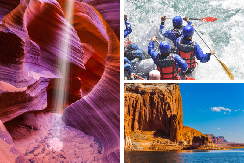 Punti salienti dell'Arizona Gita di un giorno Antelope Canyon, Lake Powell e Glen Canyon con River Rafting