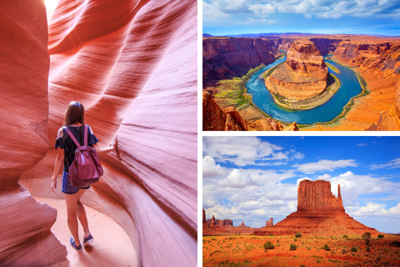 Tour di 3 giorni dell'Antelope Canyon, Monument Valley e Horseshoe Bend