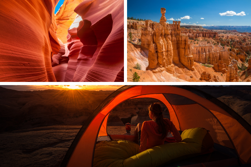 Tour di 3 giorni in campeggio ad Antelope Canyon, Grand Canyon, Zion Park, Bryce Park e Monument Valley