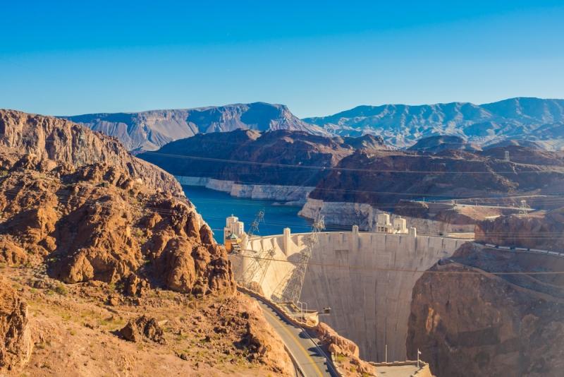 Hoover Dam vista do helicóptero