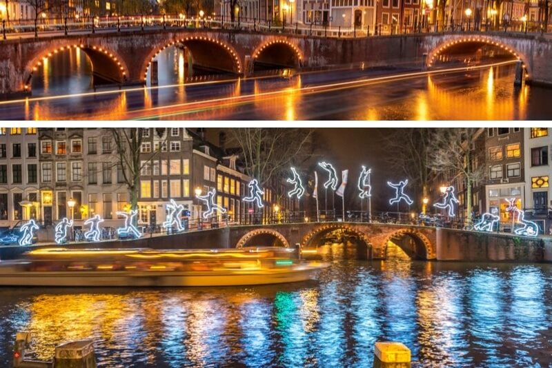 Crucero holandés a la luz de las velas con vino y queso de Amsterdam
