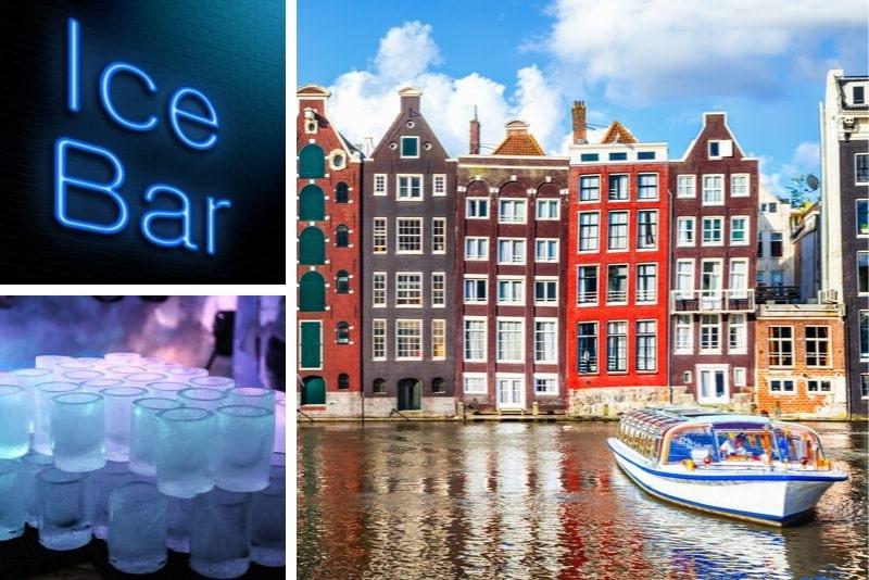 Crucero por el canal de Amsterdam y entrada al bar de hielo Xtracold