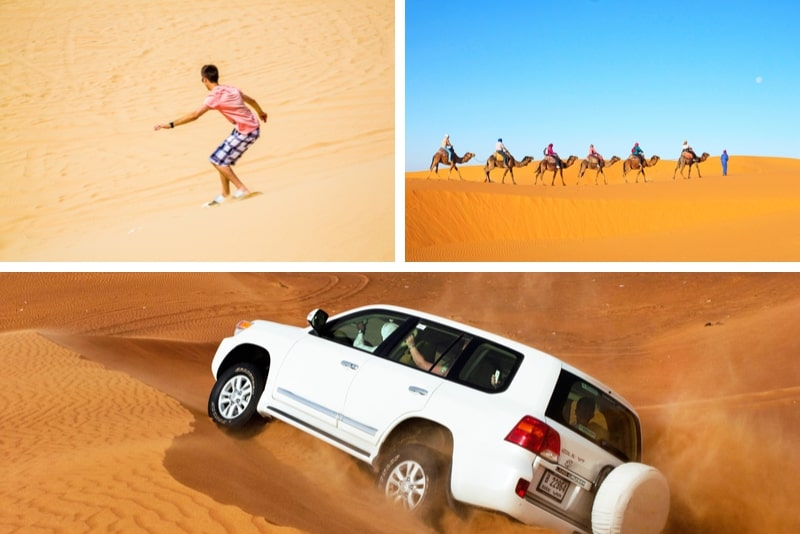 Dubai Morning Desert Safari Sandboarding, chameaux et brunch