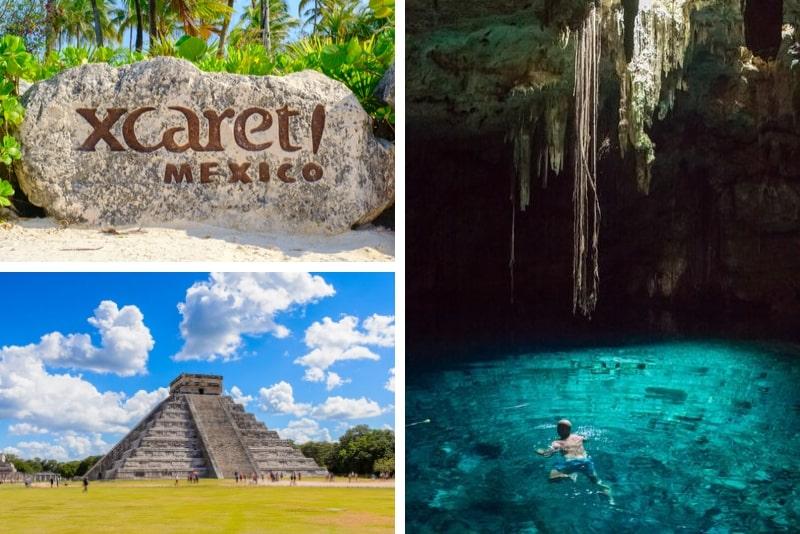 Combo Xcaret Basic und Chichen Itza sowie Schwimmen im Cenote und Mittagessen
