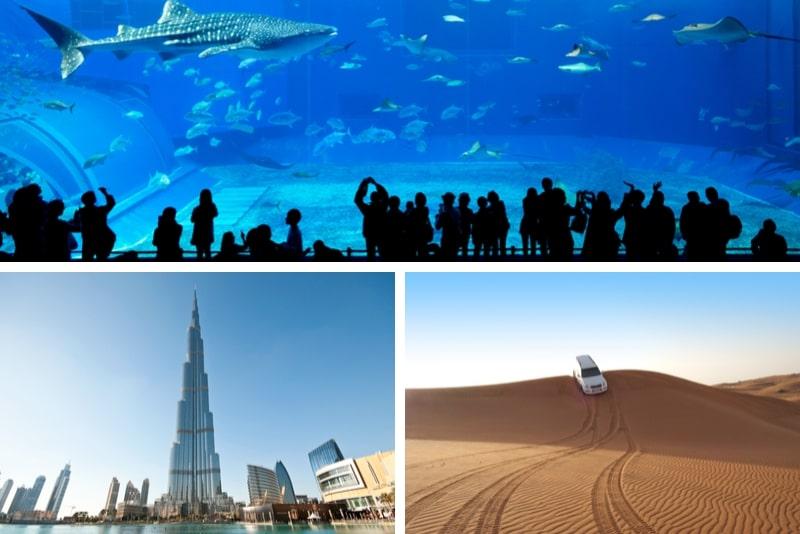 Desert Safari + Burj Khalifa At The Top + Dubai Aquarium - 2 Day Combo