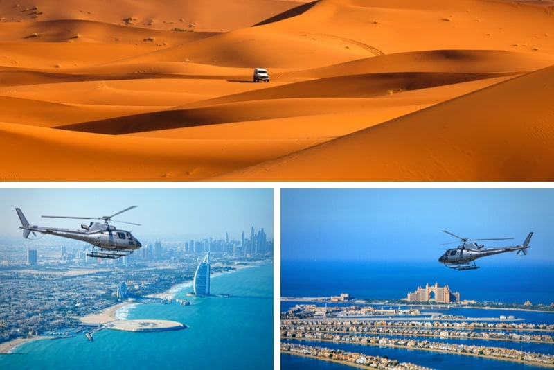 Dubai Combo Helicopter Flight and Desert Camp Experience by 4x4
