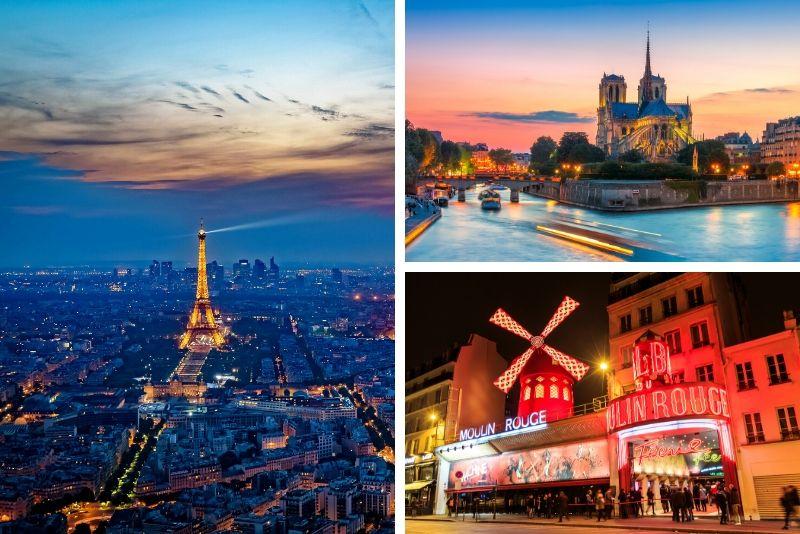 Cena crucero La Marina, Torre Eiffel de noche y espectáculo Moulin Rouge