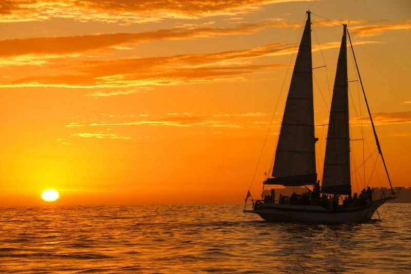 sunset sailing in San Diego, California
