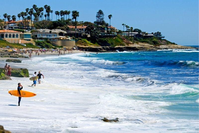surfing at La Jolla in San Diego, California