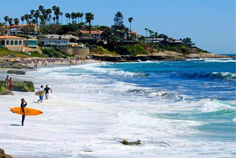 surfing at La Jolla in San Diego, California