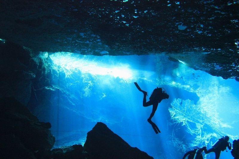 cavern diving near Cancun, Mexico