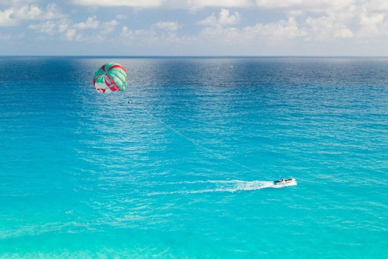 parasailing in Cancun, Mexico