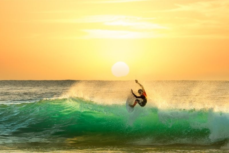 surfing in Cancun, Mexico