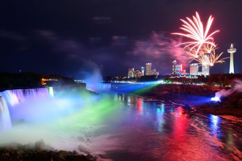 Niagara Falls Canada Night Lights Tour with Dinner & Cruise