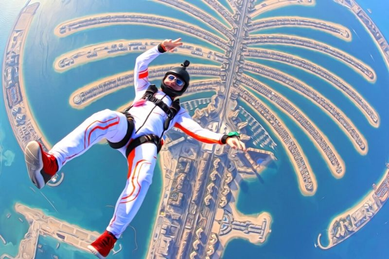 skydiving above the Palm Jumeirah, Dubai