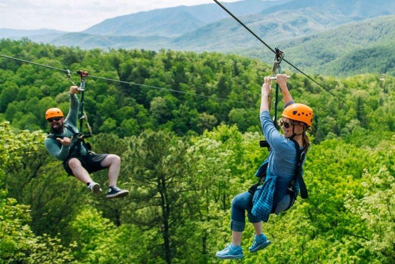 zipline in Smoky Mountains