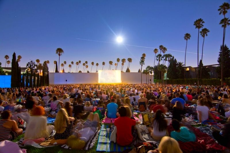 outdoor movie screening at Hollywood Forever Cemetery