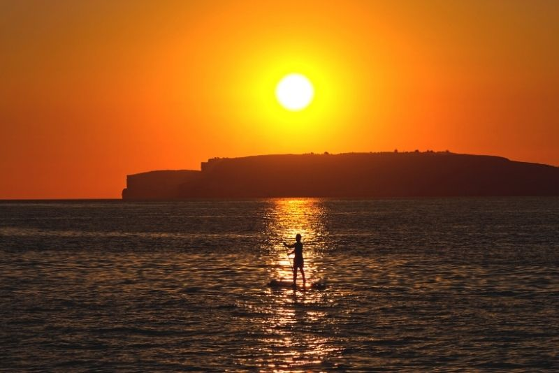 sunset stand up paddle in Malta