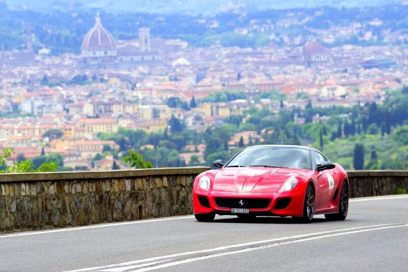 Ferrari driving in Florence