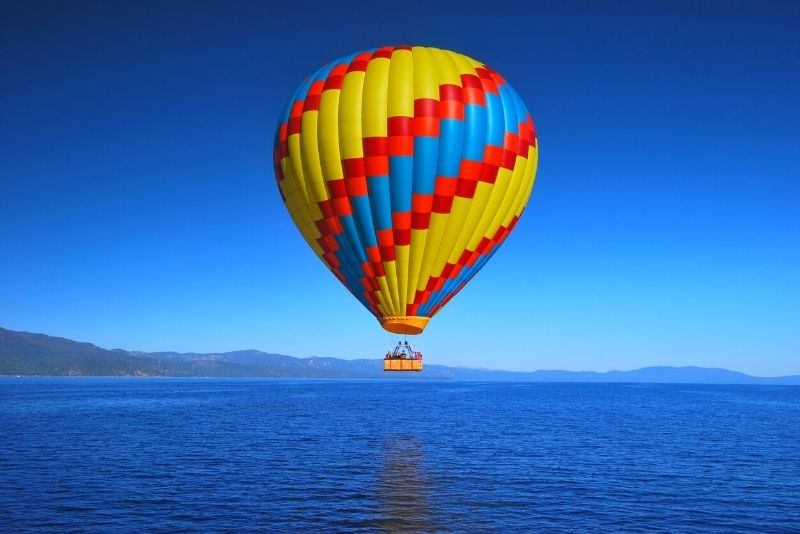 hot air balloon in Lake Tahoe