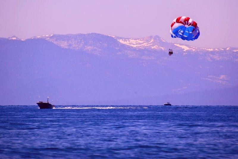 parasailing in Lake Tahoe