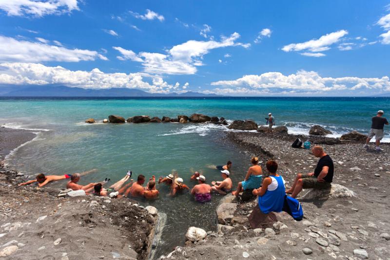 thermal springs at Agios Fokas Beach