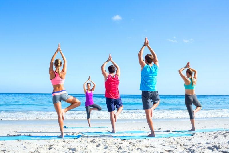 yoga on the Waikiki oceanfront