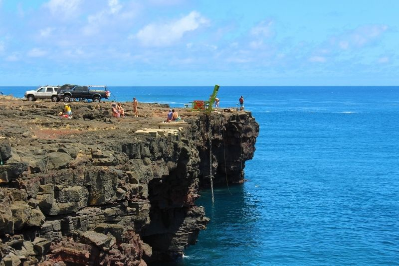 cliff jumping at South Point, Big Island