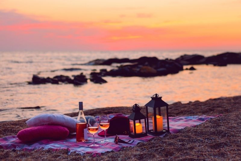 romantic sunset beach picnic in Puerto Rico