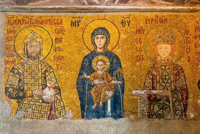 Byzantine mosaic in the interior of Hagia Sophia