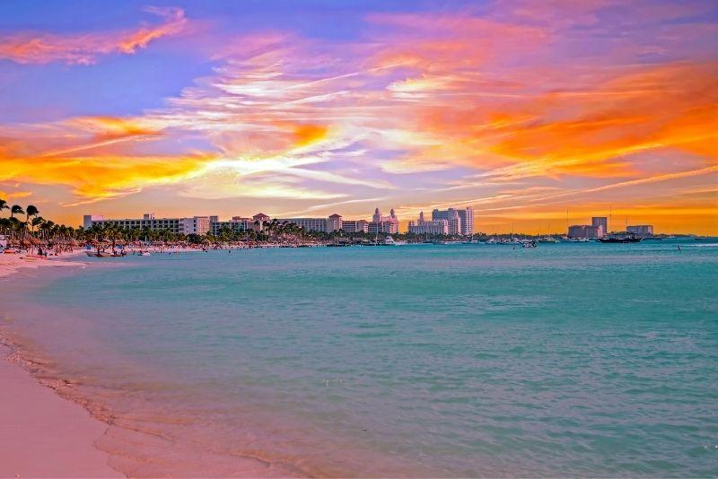 Palm Beach sunset in Aruba