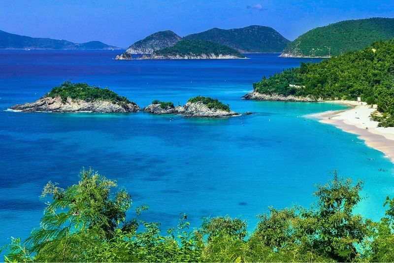 Trunk Bay Beach in St John, day trip from St Thomas